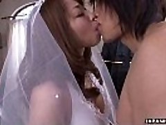 During her wedding she has to inhale on a rigid wiener