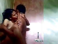indian teen in bathroom with her boyfriend