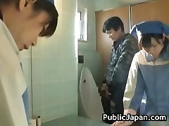 Asian restroom attendant cleans wrong part3