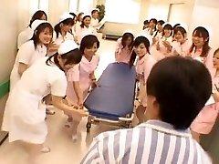 Asian nurses in a hot gang-fuck
