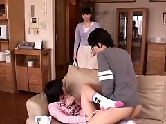 Horny japanese played on her furry pussy and big breasts