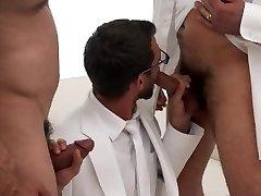 MormonBoyz-Two bearded daddies double fuck a horny Mormon recruit