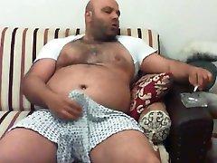 Very handsome turkish bear smoking, stroking and cumming