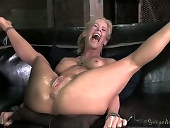 Heavily tied blond Milf with cock-squeezing boobies gets fucked by black freak hard