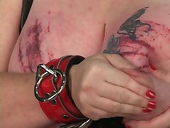 Poor bdsm slave woman gets her giant tits tortured with ropes in basement