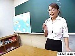 Classical JAV CFNM teacher handjob deep throat demonstration