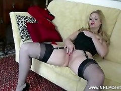 Blond Aston Wilde tease in vintage lingerie heels nylon strip panties wank