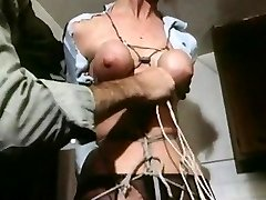 Strung up - antique bondage breasts bound cock-squeezing