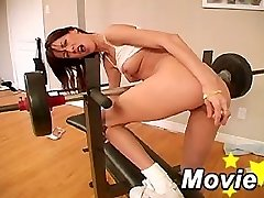 Hardcore faux-cock fucking dark-haired Sweet lee in a gym