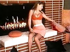 FIRE - vintage nylons striptease dance stocking ginormous boobs