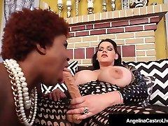 Hot Latina Plumper Angelina Castro StrapOn Drills Ebony Maserati!