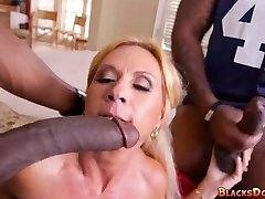 Blond Mother gets Black Cock on gameday