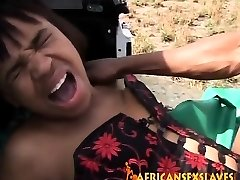 Tough outdoor boinking with a nasty African slut and huge