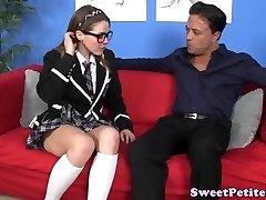 Uniformed schoolgirl masturbates before sex