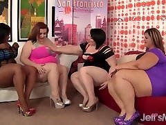 4 plump leabians steaming hot sex