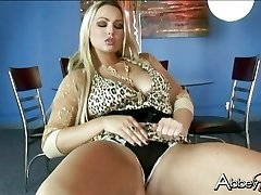 Seductive Abby Brooks getting raw and wild on a tabouret by herself