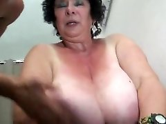 FRENCH Bbw 65YO GRANNY OLGA Screwed BY 2 MEN - DP
