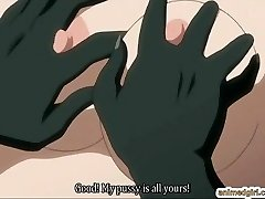 Big-chested anime hard screwed by lizard monster