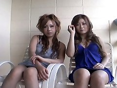 Two slutty Japanese women Yurina Shiho and Hibiki Mahiru gives a brief interview before fucking one another