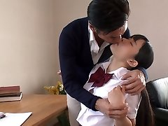 Japanese college sweetie lures her tutor and sucks his appetizing cock in Sixty-nine pose