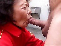 Granny enjoys sucking cock and guzzling cum