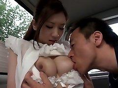 Exotic Japanese chick Arisa Aizawa in Horny good-sized mammories, car JAV clip