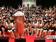Subtitled CFNM Japanese massive handjob oral event