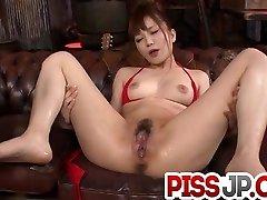 Steamy oral job for Maomi Nagasawa in crimson lingerie