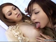 Japanese lesbians playing with dildos