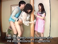 Subtitled Japanese risky hookup with voluptuous mother in law
