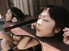 Helpless Oriental chicks getting their throats tucked with