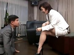 asian foot female domination smoking with cigarette possessor