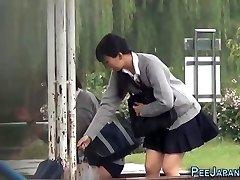 Asian teen piss park