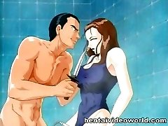 Showering anime damsel gets owned