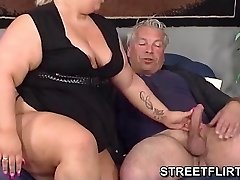 Real big fat BBW gives some sloppy blowjob