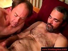 Redneck bear gets a sticky facial cumshot