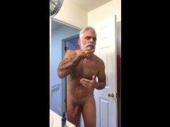 Naked beard maintenance.