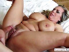 Mega huge-titted stepmom Amber Lynn Bach is fucked by insane 19 yo stepson