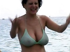 Super Hot Cougar in Bikini at The Beach