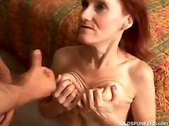 Thin mature redhead enjoys to fuck and the taste of cum