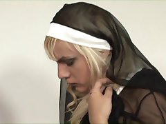 Three tranny sluts dressed like nuns fucks and creams gay dude