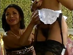 Mature nymph and her dark-hued maid doing a guy - vintage