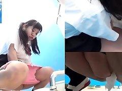 Asian teenies pee in toilet