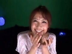 Cute Japanese girl Maika get covered in sperm by 2 men