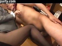 Secretary Cum On Her Stocking Asian