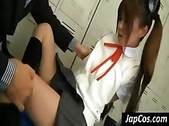Young Japanese doll gets her arm pits licked and her feet worshiped