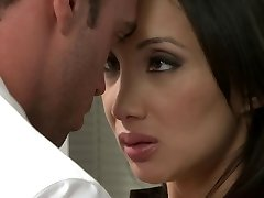 Oriental sweetheart receives torn up in the office