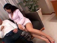 Whorish Asian secretary masturbates her cootchie right in front of her boss