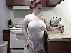 Naughty Redhead BBW striping on Webcam