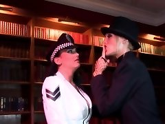 Radny slut thrusts a stick in policewoman's asshole